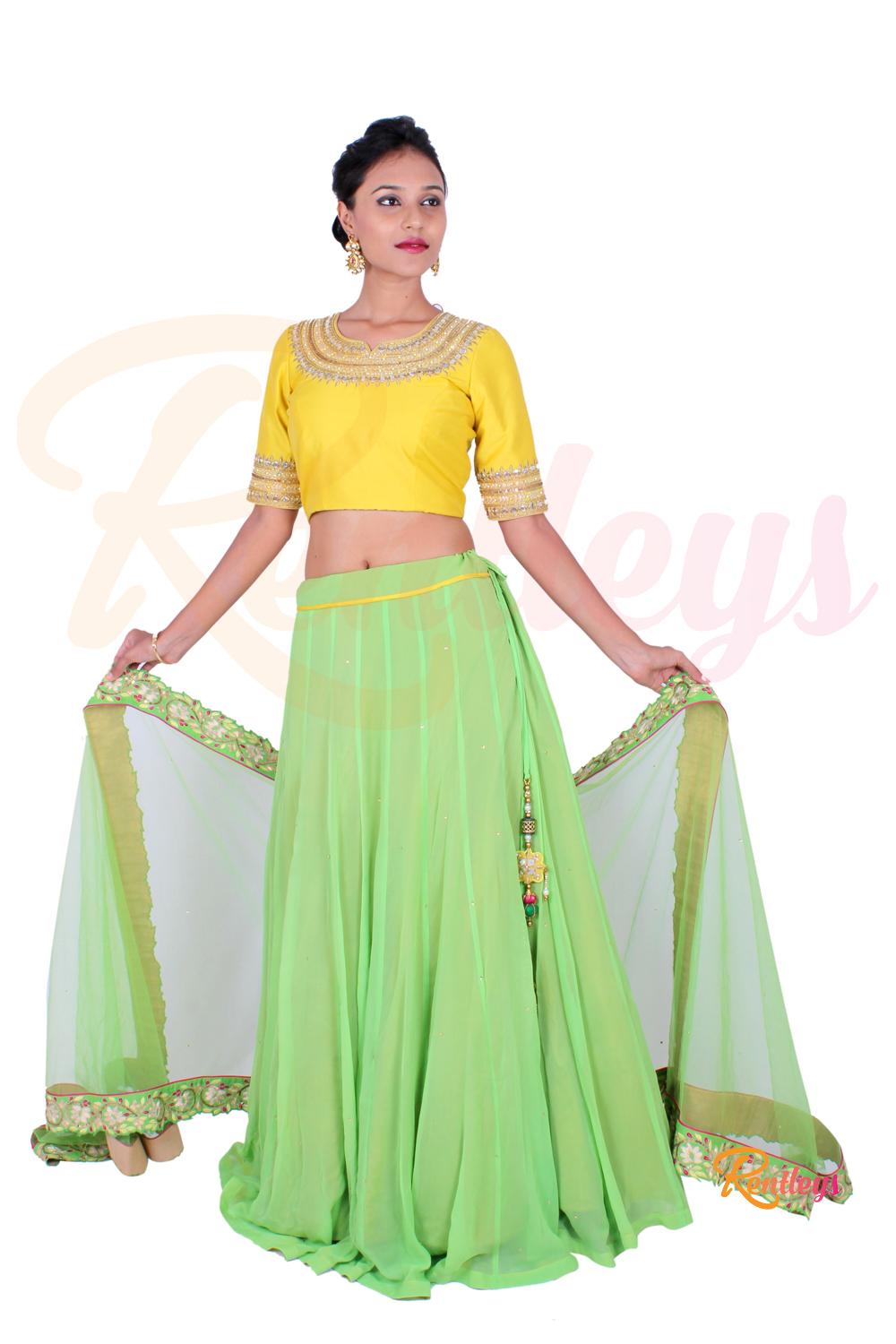 4837bc38a4 Hover to zoom · LIME GREEN & BUTTER YELLOW LEHENGA SET YLLC5 ...